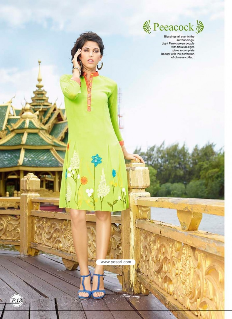 Red Border and Green Color Kurti