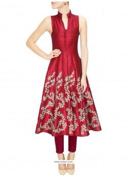 Impeccable Embroidered Work Raw Silk Maroon Designer Kurti