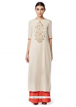 Gorgonize Cotton Off White Embroidered Work Designer Kurti
