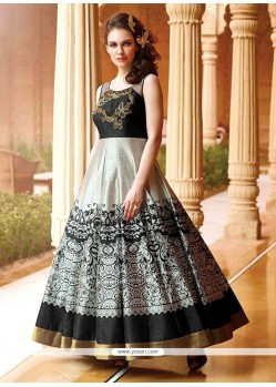 Modern Art Silk Black Print Work Designer Gown