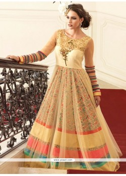 Fascinating Print Work Art Silk Cream Designer Gown