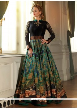 Black Art Silk Print Work Designer Gown