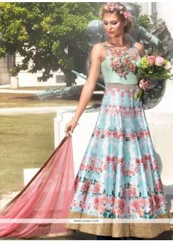 Art Silk Turquoise Print Work Designer Gown