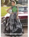 Invigorating Blue Print Work Designer Gown