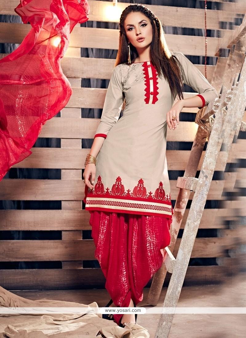32df0636e7 Buy Radiant Cotton Cream And Red Punjabi Suit | Designer Salwar Suits