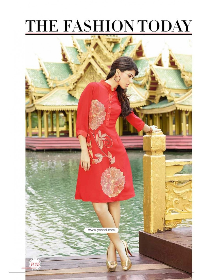 Print Red Color Kurti