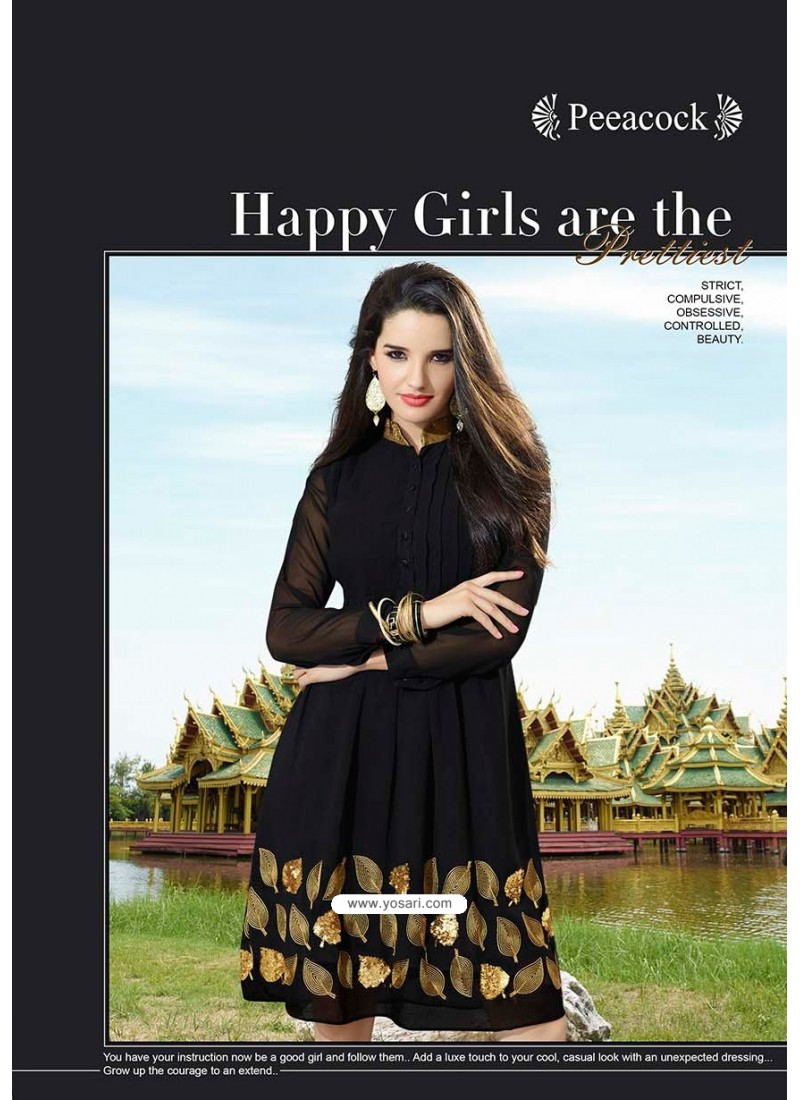 Gold Print Black Color Kurti