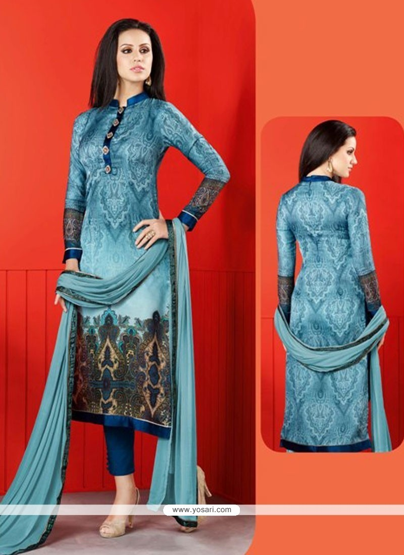 Buy Digital Print Satin Churidar Designer Suit In Blue | Churidar ...