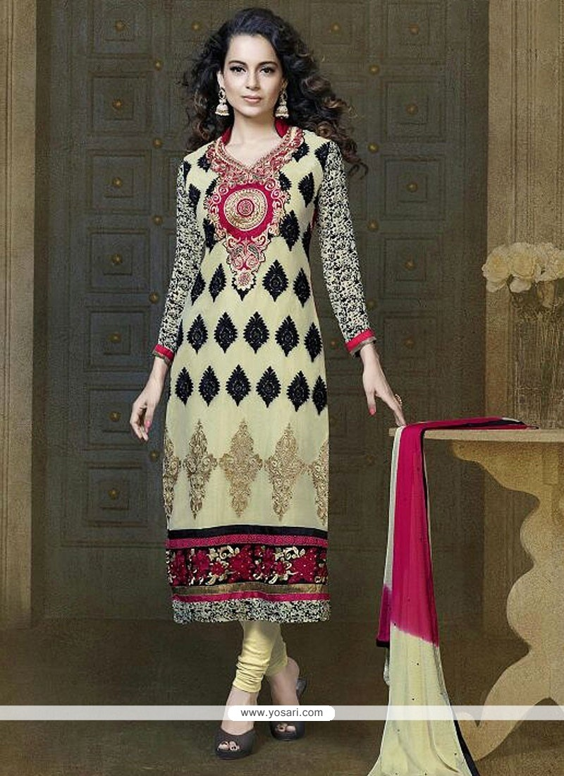 Beige Georgette Churidar Suit