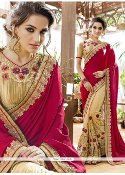 Blissful Beige And Maroon Embroidered Work Georgette Designer Half N Half Saree