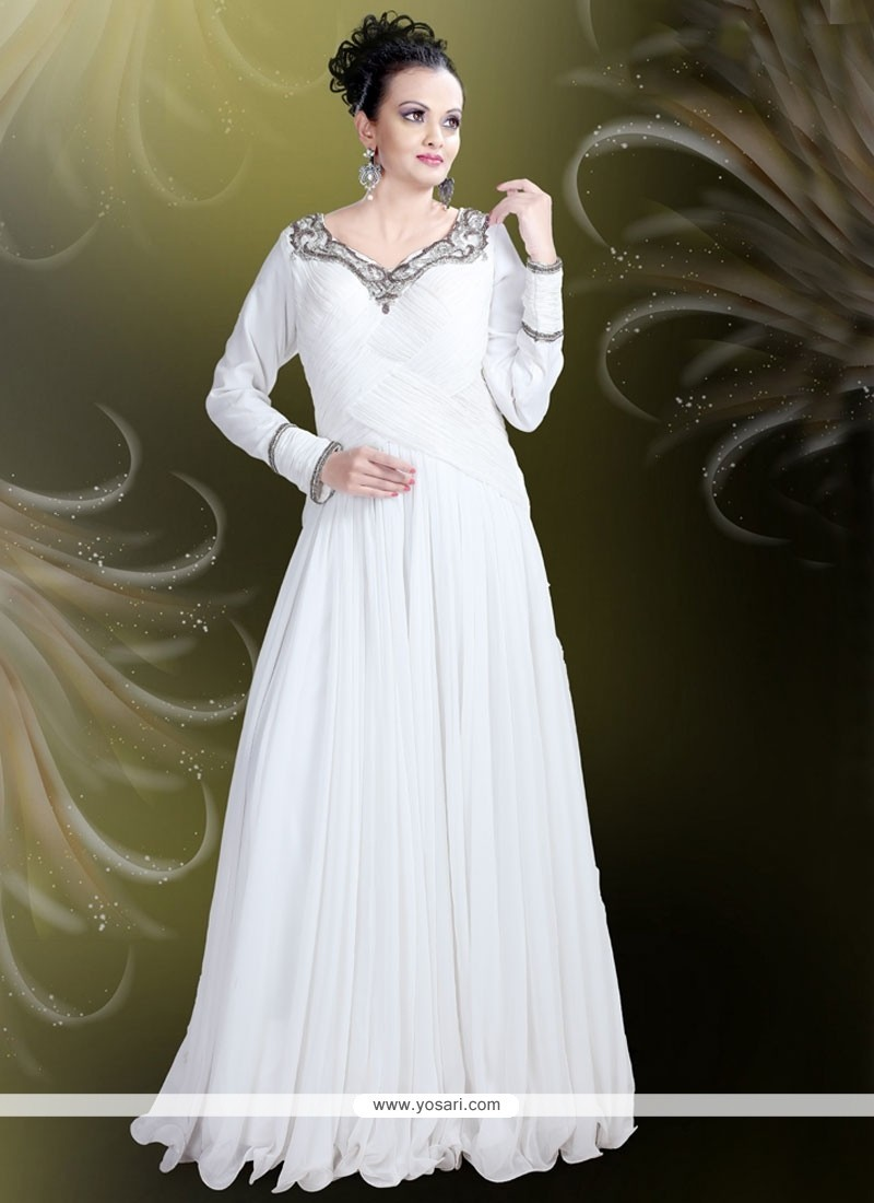 Buy Celestial Embroidered Work Satin Off White Readymade Gown | Gowns