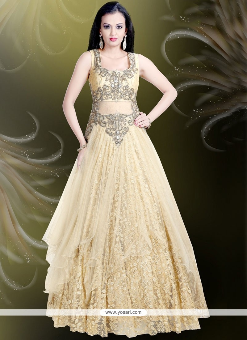Buy Amusing Beige Embroidered Work Readymade Gown Gowns