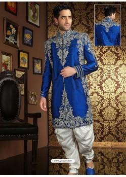 Stylish Blue Raw Silk Sherwani Suit