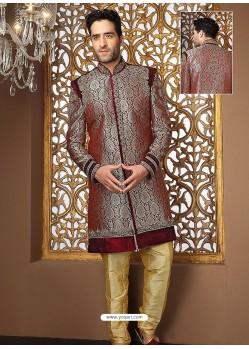 Mind-Blowing Banarasi Jamevar Silk Sherwani