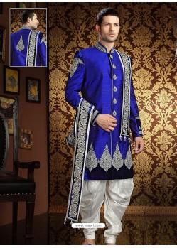 Pure Raw Silk Stones Enhanced Sherwani