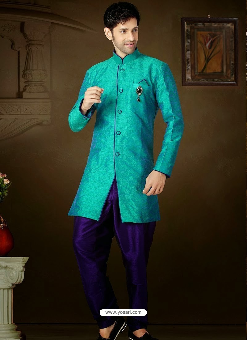 Buy Sea Green Art Silk Sherwani | Sherwani