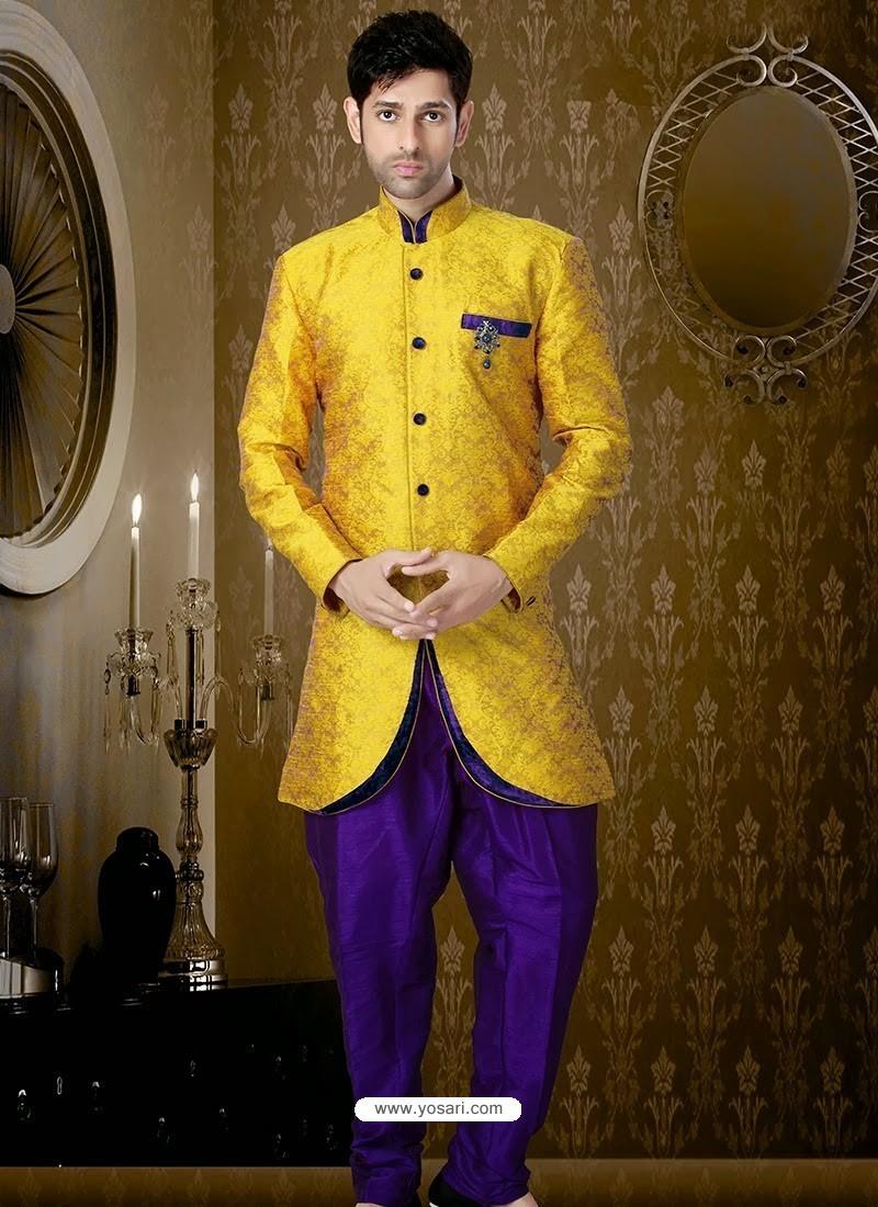 f37ef6afc3 Buy Handsome Art Silk Mustard Sherwani | Sherwani