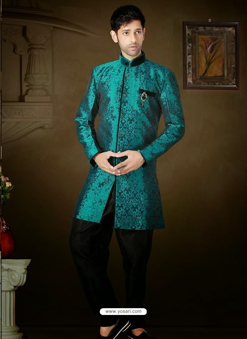Buy Wonderful Teal Blue & Black Brocade Sherwani | Sherwani