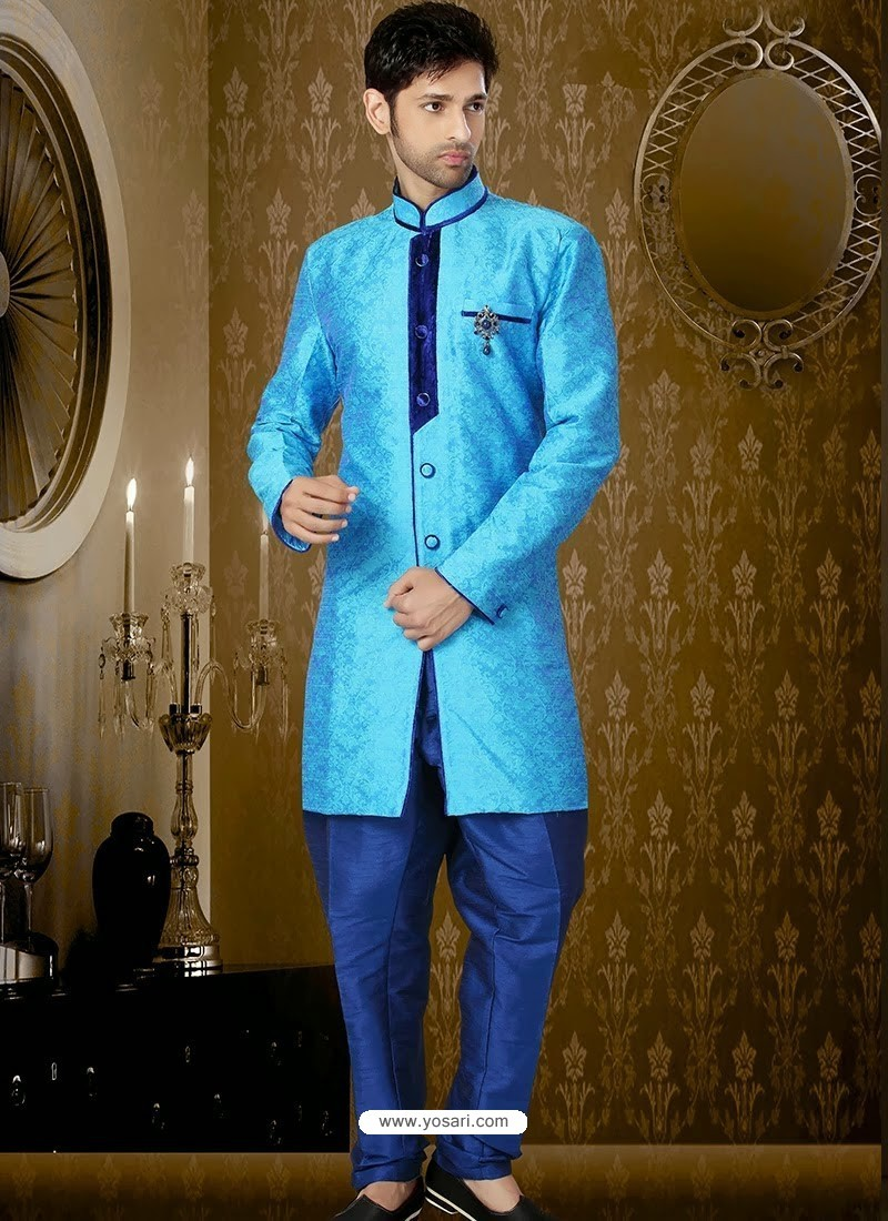 Buy Sky Blue Art Silk Sherwani | Sherwani