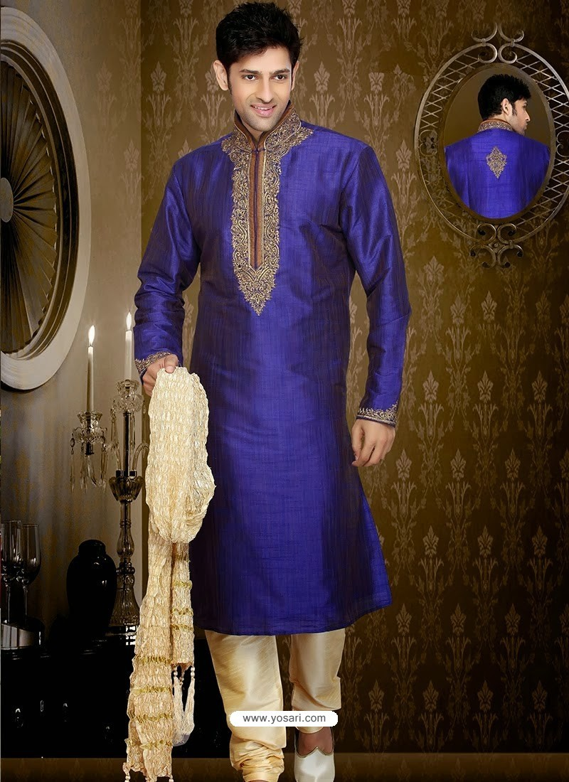 Buy Gorgeous Look Blue Art Silk Kurta Pajama | Kurta Pajama
