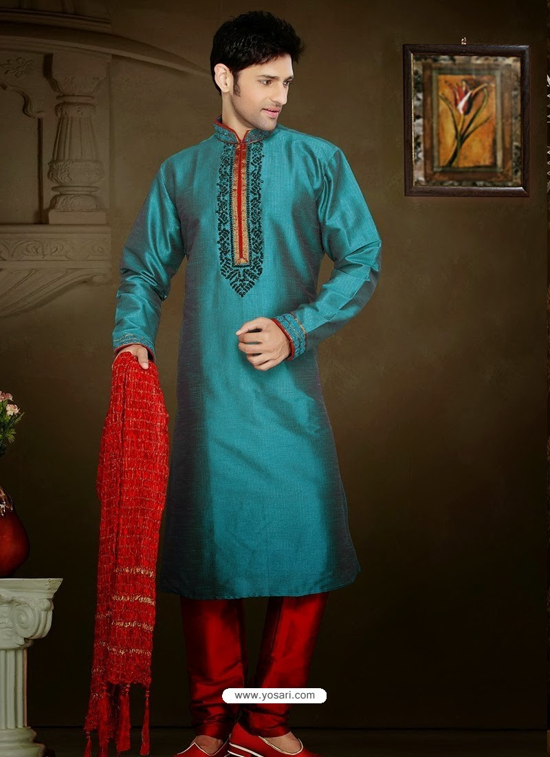 Buy Traditional Teal Blue Art Silk Kurta Pajama | Kurta Pajama