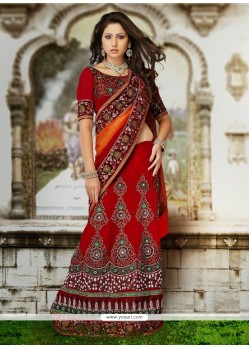Red Velvet Wedding Lehenga Choli