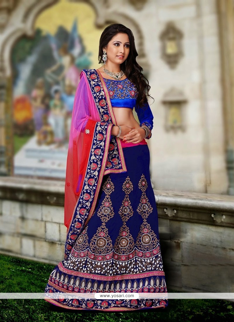 Blue Shaded Net Lehenga Choli