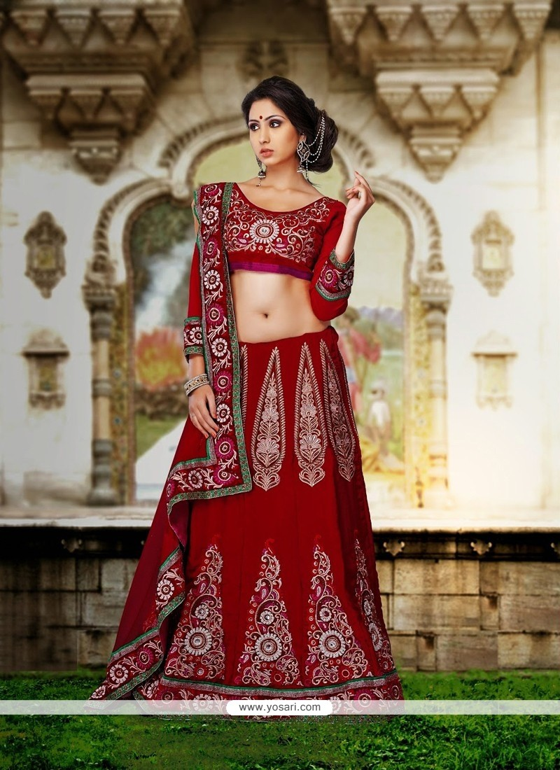 Red Color Net And Velvet Lehenga Choli