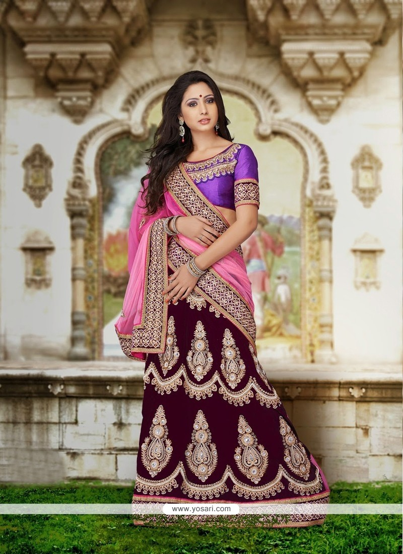 Wine And Pink Velvet Lehenga Choli