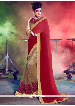 Elegant Red Embroidered Work Georgette Designer Half N Half Saree