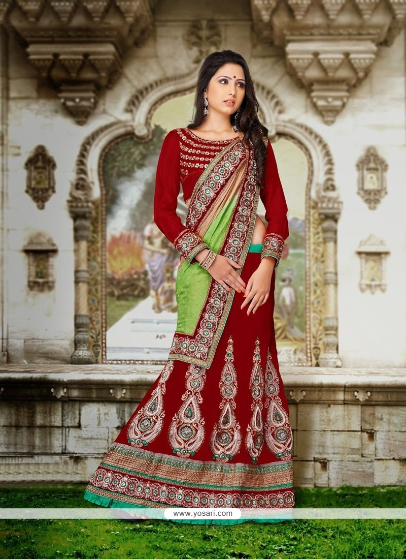 Maroon Jacquard And Velvet Lehenga Choli