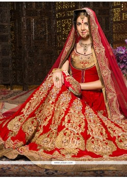 Fab Red Velvet Wedding Lehenga Choli