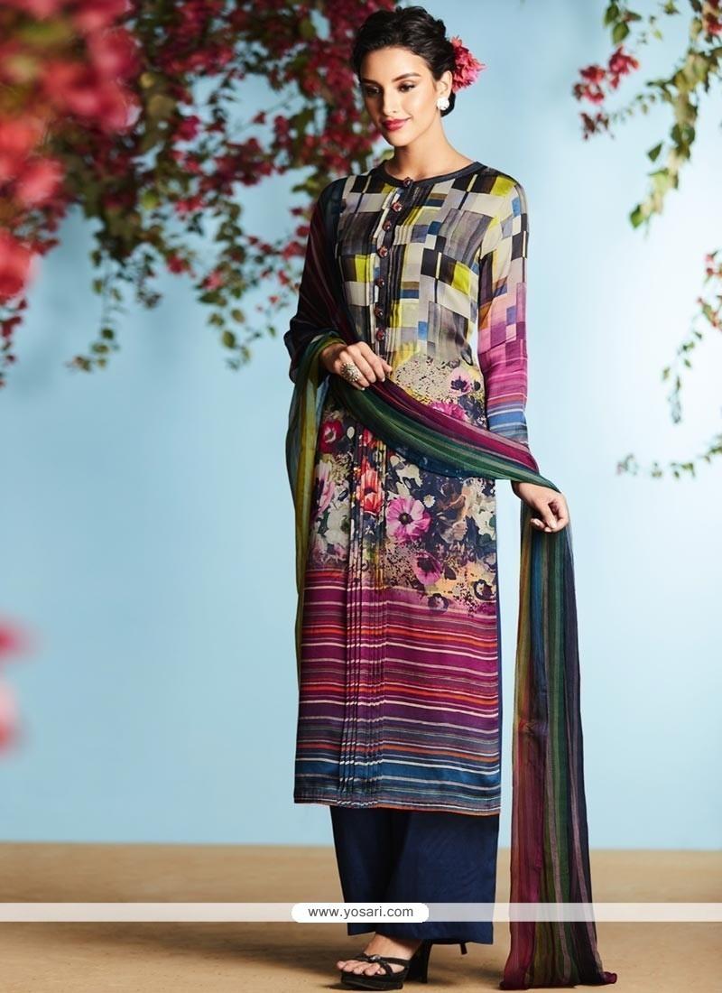 Buy Modern Satin Multi Colour Designer Palazzo Suit | Palazzo Salwar ...