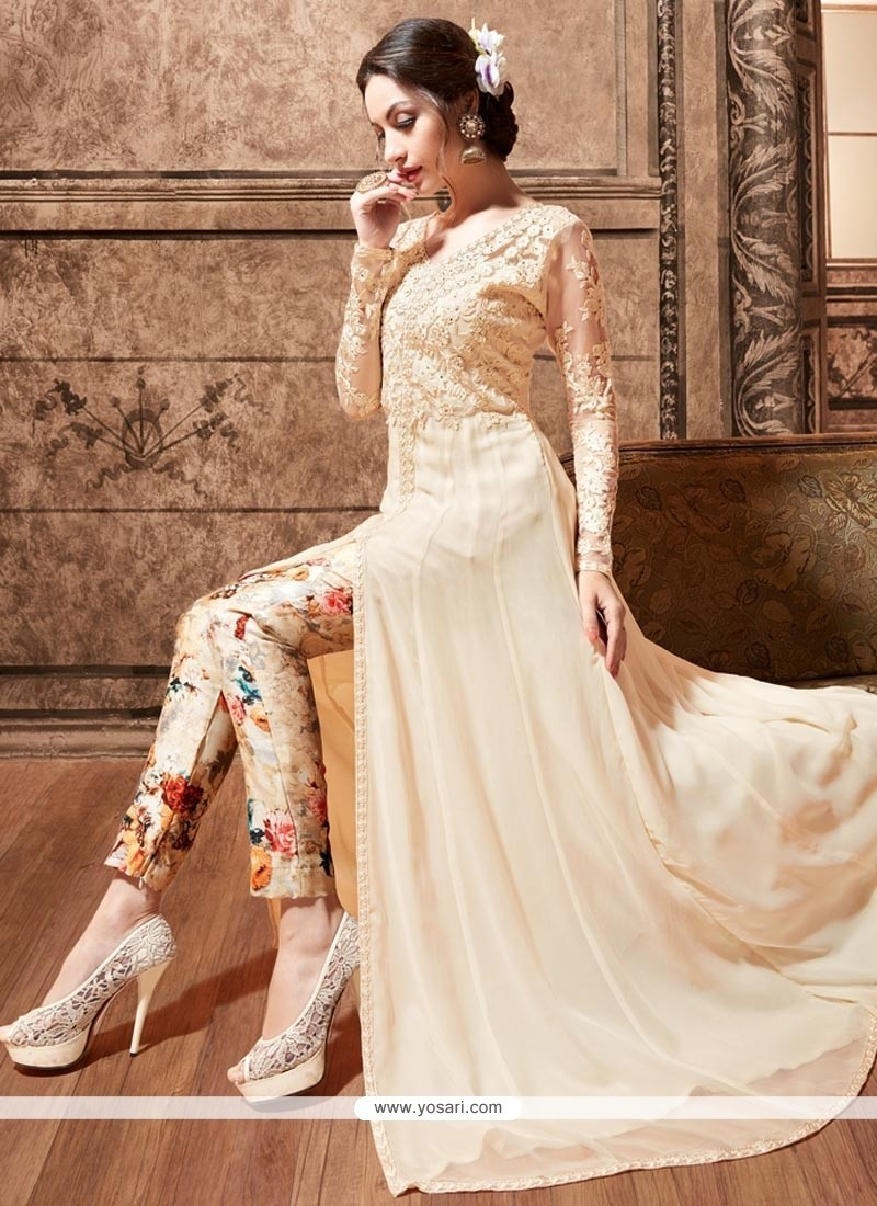 Buy Embroidered Pure Silk Pant Style Suit In Cream | Wedding Suits