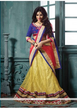 Deepika Singh Blue And Yellow Net Lehenga Choli