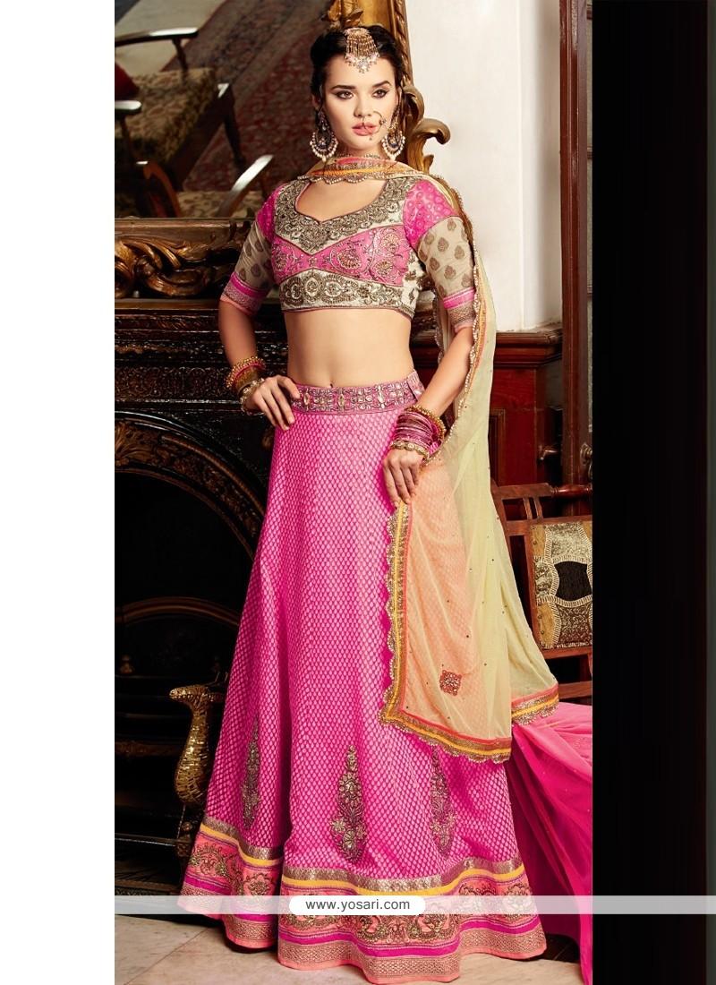 Hot Pink Banarasi Lehenga Choli