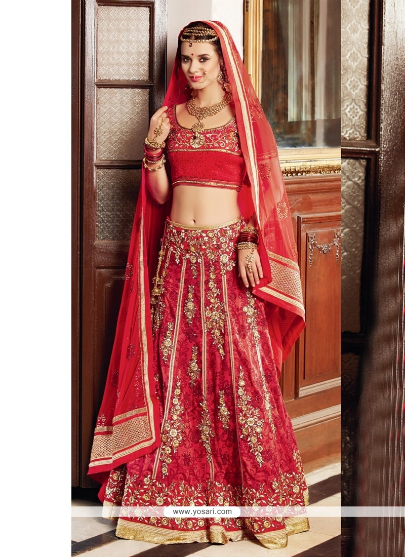 Red Banarasi Silk Wedding Lehenga Choli