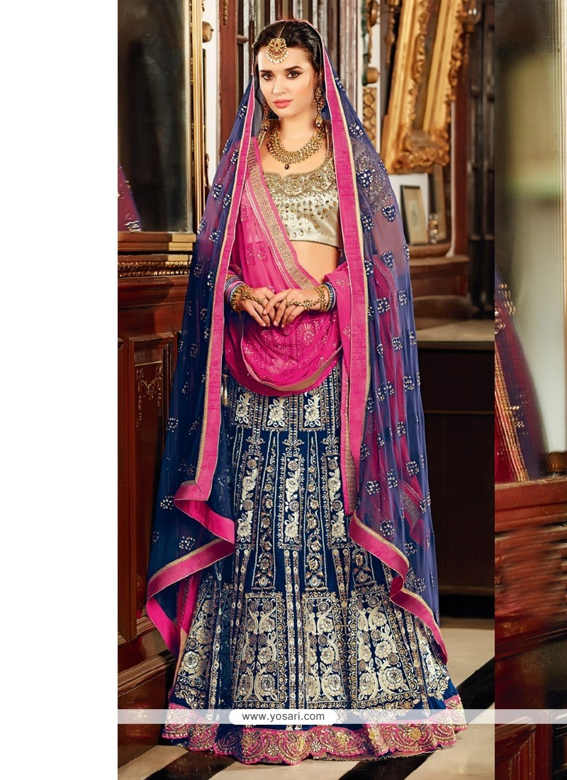 Blue And Pink Velvet Designer Lehenga Choli