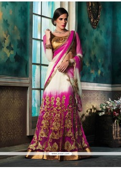 Pink And Cream Color Net Lehenga Choli