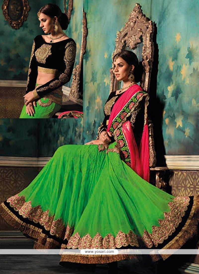 Fabulose Green Zari Work Lehenga Choli