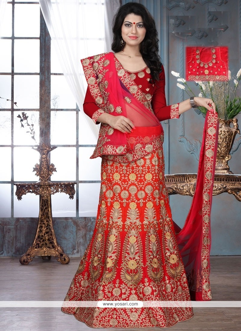 de5e5829527 Buy Pleasance Embroidered Work Satin Lehenga Choli