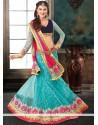 Turquoise Blue Net Wedding Lehenga Choli