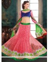 Opulent Pink And Blue Net Lehenga Choli