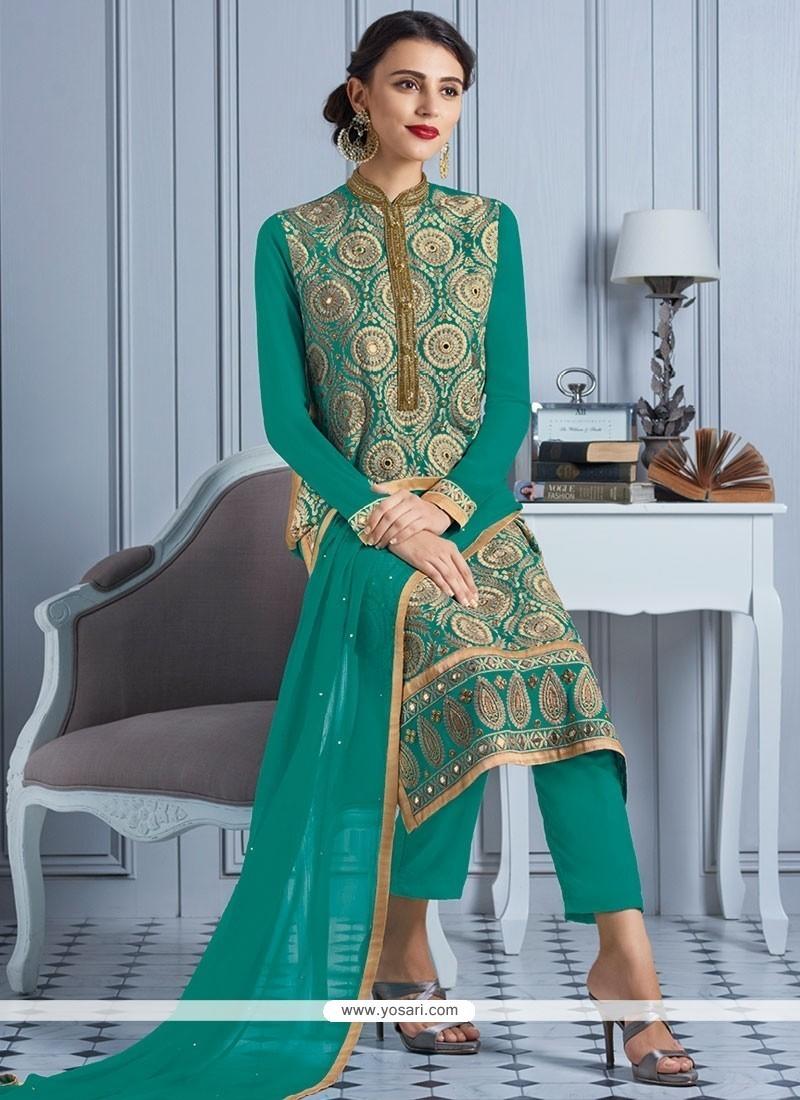Buy Elegant Resham Work Sea Green Georgette Churidar Designer Suit ...
