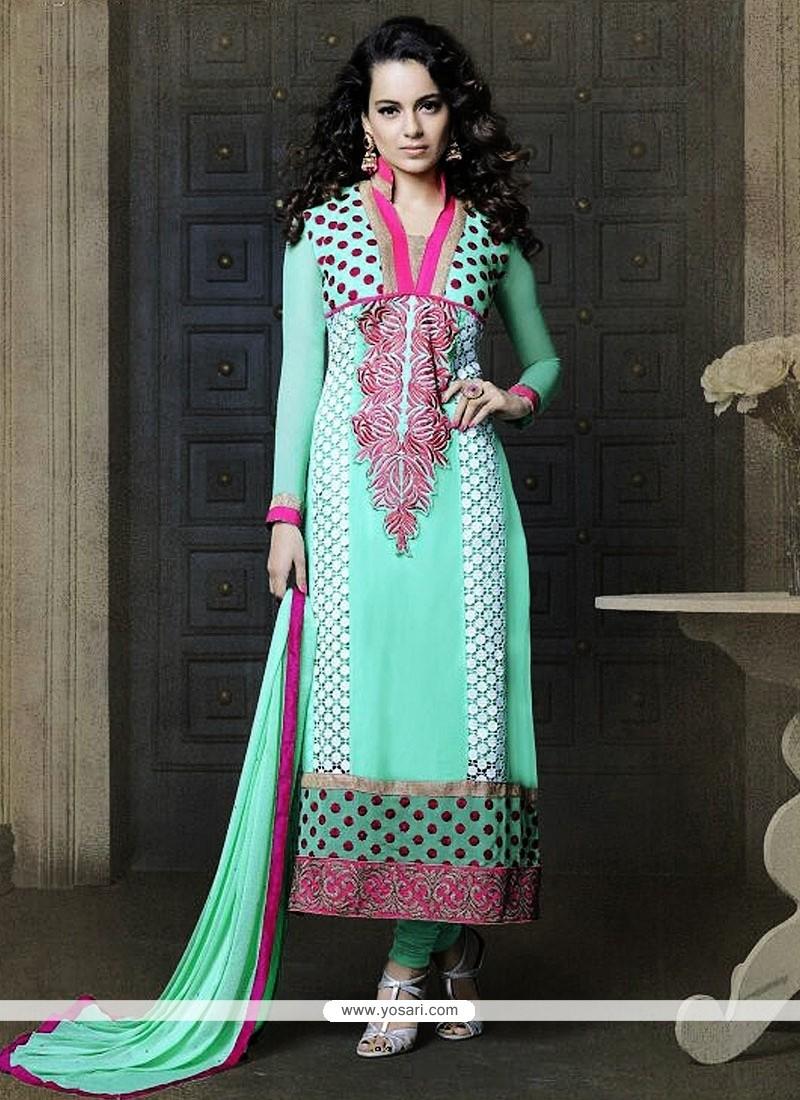 Turquoise Georgette Churidar Suit