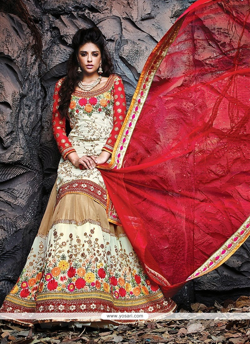 Cream And Beige Art Silk Wedding Lehenga Choli