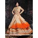 Cream And Orange Shaded Net Lehenga Choli