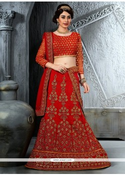 Orange Silk Designer Lehenga Choli