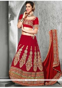 Maroon Velvet Wedding Lehenga Choli
