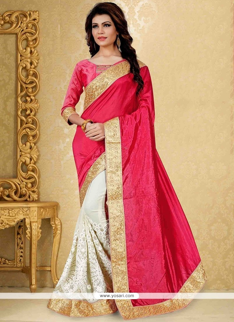 cf2f38cdacd207 Buy Sorcerous Hot Pink And Off White Traditional Saree   Designer Sarees